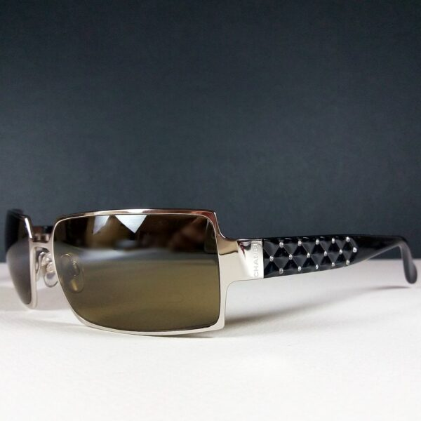 Chanel 4103-B c.127/54 125 Black Rectangle Pearl Quilted Designer Sunglasses