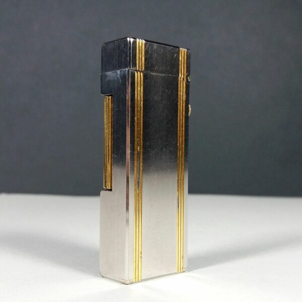 Dunhill D Mark Brushed Silver/Gold Plated Lines Lighter Working SWISS MADE