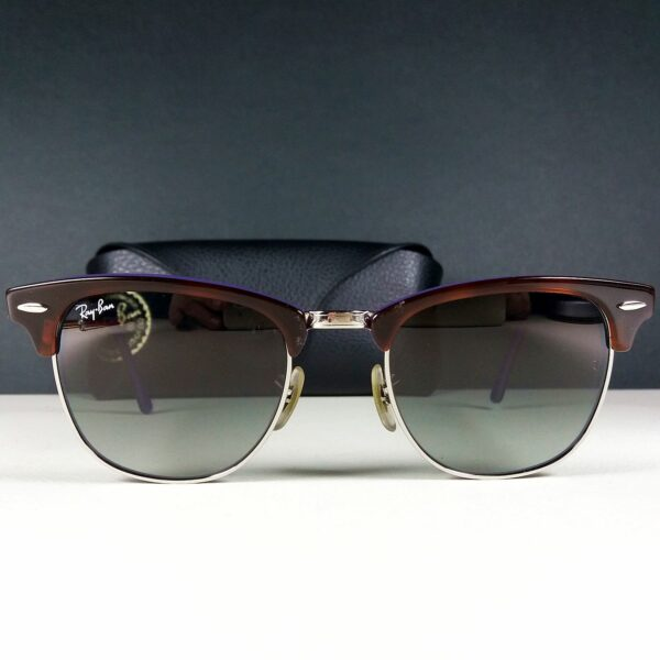 Ray Ban RB 3016 Clubmaster Silver Tortoise/Purple Sunglasses in Case