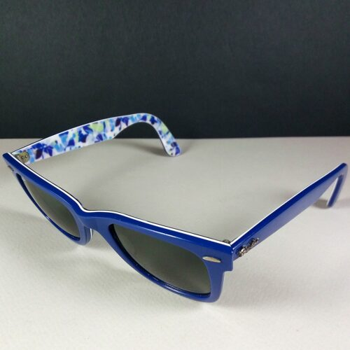 Ray Ban RB 2140 1019 Blue/White Flower Motif Wayfarer Sunglasses Handmade