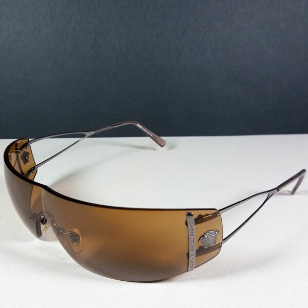 Versace MOD 2013 Medusa Head Logo Wire-frame Rimless Wrap 125 Sunglasses