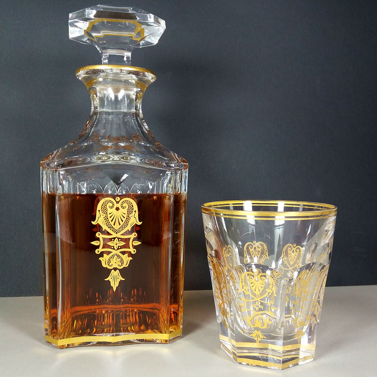 Baccarat Harcourt Empire Vintage Crystal Glass Whiskey Decanter w/Gold Details