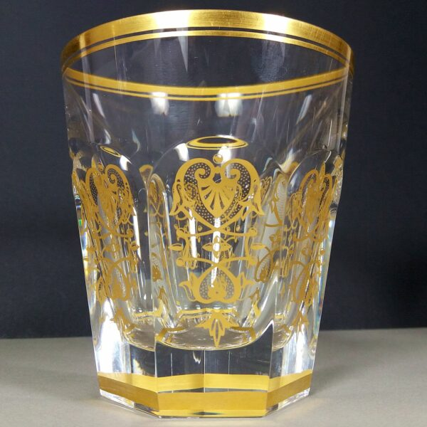 Baccarat Harcourt Empire Vintage Crystal Whiskey Glass/Tumbler w/Gold Details