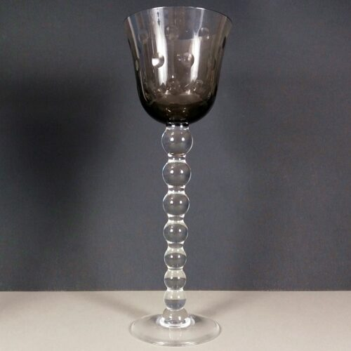 Saint St Louis Bubbles Crystal Pink Grey Hock Wine Glass Roemer