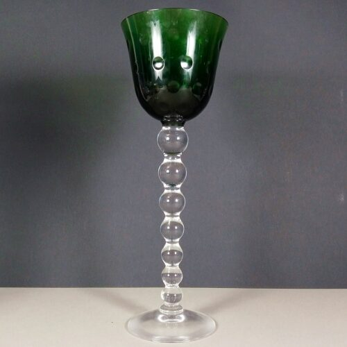 Saint St Louis Bubbles Crystal Green Hock Wine Glass Roemer
