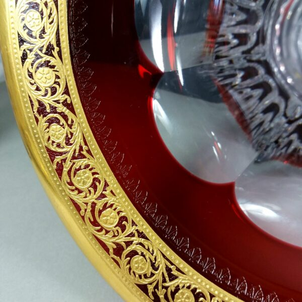 "St Louis France Ruby Red/Gold 27cm/10.6"" Versailles Or Thistle Crystal Vase"