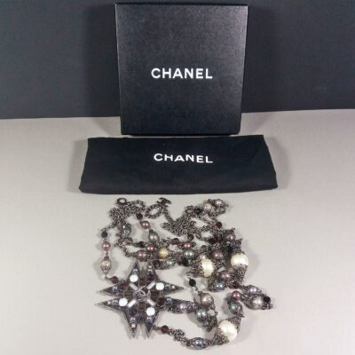 Chanel Gunmetal Opal Burgundy Grey Star Maltese Cross Faux Pearl Necklace