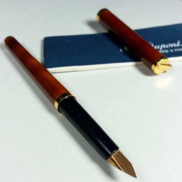 S.T. Dupont Gold/Brown Laque de Chine Montparnasse Fountain Pen in Case w/Papers