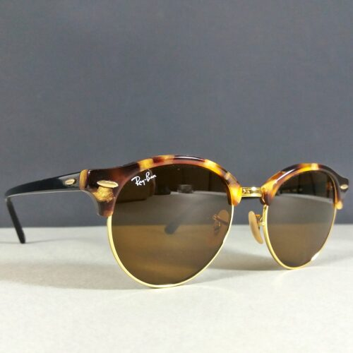 Ray Ban RB 4246 1160 Brown Tortoise Gold Club Round Sunglasses w/Case