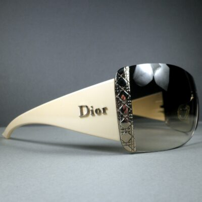 Christian Dior Diorissima2 U14JS 125 Ivory/Silver Shield Sunglasses w/White Case