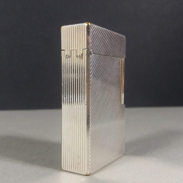 S.T. Dupont Vintage Diagonal Lines Silver Ligne 1 Gas Lighter w/Papers in Box