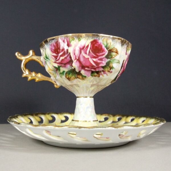 Vintage Egyptian Pearlised Roses Motif Tea Cup & Saucer Early 1930s