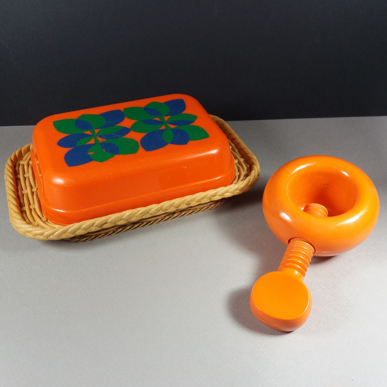 Dana Plast Denmark Orange Nutcracker & EMSA Germany Butter Tray 1970s Retro Design