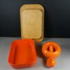 EMSA Germany Butter Tray & Dana Plast Denmark Orange Nutcracker 1970s Retro Design