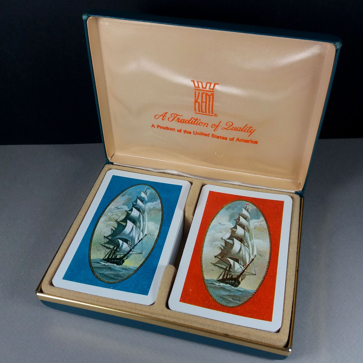 KEM Tall Ships Bridge Poker Two Playing Cards Decks w/Case US Made