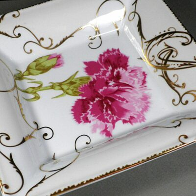 Christian Lacroix Follement Rose Pink/Gold 17cm Square Porcelain Cigar Ashtray