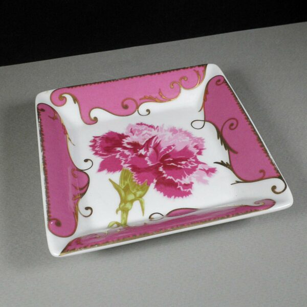 Christian Lacroix Follement Rose Pink/Gold Porcelain 11cm Square Tray/Ashtray