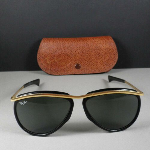 Ray Ban B&L W0641 5 1/4 Olympian Aviator Arista Gold Black Sunglasses w/Case
