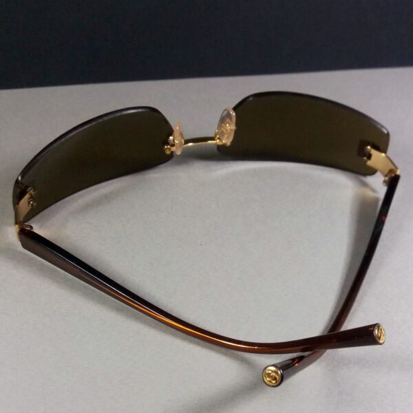 Chanel 4018 c.139/73 Rhinestone CC Logo Blue Gradient Rimless Sunglasses