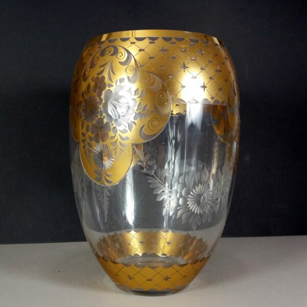 "Vintage 20cm/8"" Flower Motif Cut Crystal w/Gold Leaf Vase Early 20th Century"