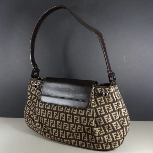 Fendi Zucca Brown Leather Flap Small Rare Vintage Hand Bag 8BR282