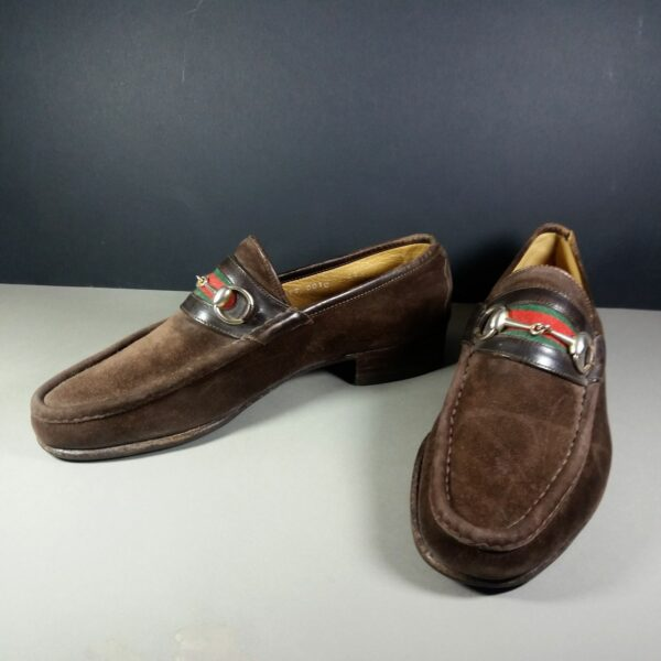 Gucci Green Red Horse Bit Men's Brown 42 1/2 M Suede Loafers Shoes