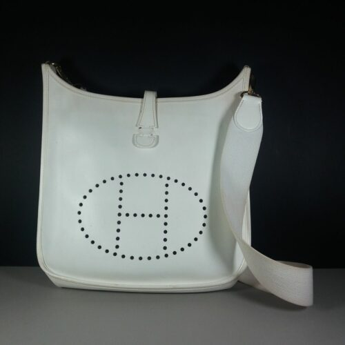 Hermes White Epsom Calf GM Evelyne Authentic Cross Body Shoulder Bag