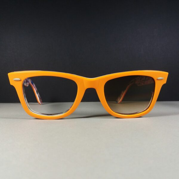 Ray Ban RB 2140 Wayfarer Special Series #2 New York MTA Orange/White Sunglasses AS IS