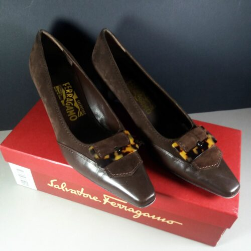 Salvatore Ferragamo Park* Espresso Suede and Calf Leather Pumps Size 8C in Box