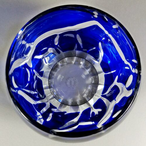 Saint Louis France Blue Crystal Candle Tea Light Votive Holder w/Clear Saucer