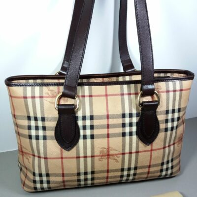 Burberry Haymarket Check Coated Canvas Chocolate Brown Leather Trim Tote Handbag