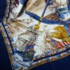 Hermes Blue/white Vive le Vent Motif 100% Silk 90cm Square Scarf Authentic