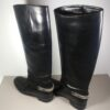Christian Louboutin Black Leather Riding Cate Boots Size 41 UK8 US11 w/Chain