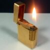 S.T. Dupont Paris Early Small Gold Diamond Head Motif Ligne 1 Gas Lighter Working Condition