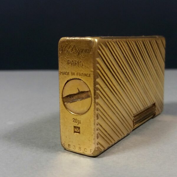 S.T. Dupont Early μ20 Gold Plated Diagonal Lines Motif Ligne 1 Gas Lighter