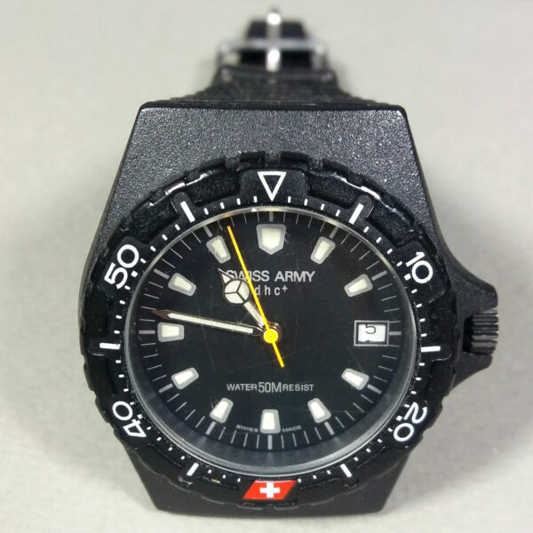 Swiss Army Black DHC+ Stainless Steel Back HC-1155 Swiss Made Quartz Wristwatch