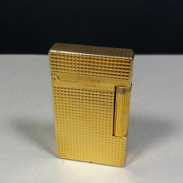 S.T. Dupont Ligne 2 Gold Plated Diamond Head Motif Gas Lighter Working Condition