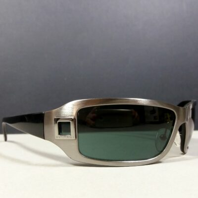BVLGARI 552 121/71 Brushed Metal Green Lenses Vintage Wrap Sunglasses