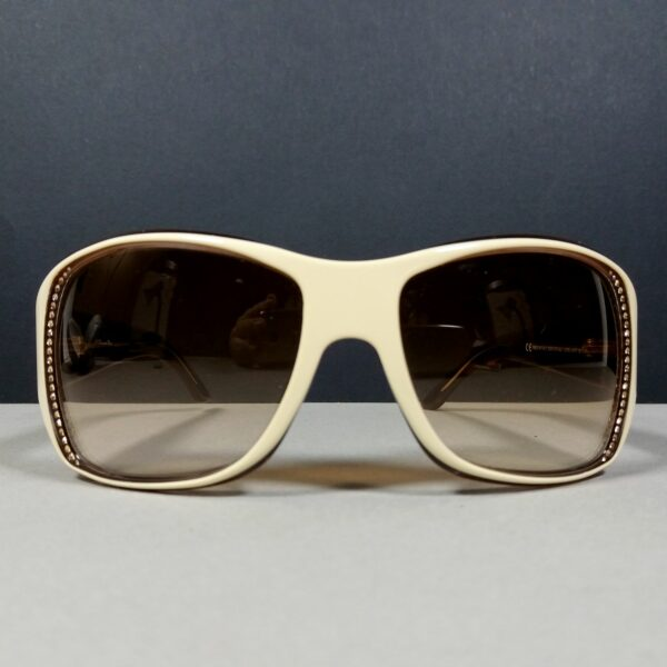 Christian Dior Beige/Brown STRASS1 Rhinestone Crystals Bling Sunglasses w/Case