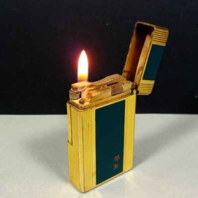 S.T. Dupont Vintage Green Laque de Chine Gold Ligne 1 Large Lighter Working