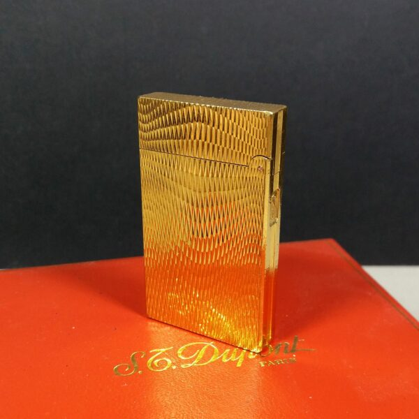 S.T. Dupont Slim Small Gold Plated Ligne 2 Line Rare Motif Lighter w/COA in Case