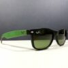 Ray Ban RB 2132 6184/4E Black Brown Green New Wayfarer Unisex Sunglasses