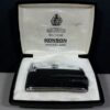 Ronson Varaflame Silver/Black Leather Vintage Lighter Made in France w/Box