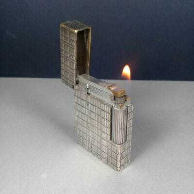 S.T. Dupont Small Ligne 2 Plaque Argent Silver Plaids Motif Gas Lighter Working