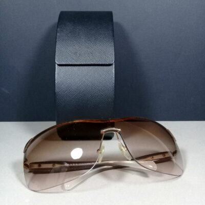 Prada SPR 59O Brown Shield Unisex Designer Sunglasses ZVN-0A6 115 2N