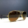 Ray Ban RB 3025 B&L Gold Aviator/Brown Large Vintage Sunglasses US Made