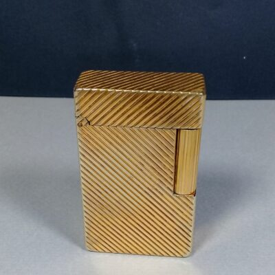 S.T. Dupont Early Gold Plated Diagonal Lines Motif Ligne 1 Gas Lighter