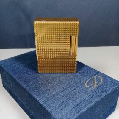 S.T. Dupont Vintage Diamond Head Gold 20μ Ligne 1 Small Gas Lighter w/Box Papers